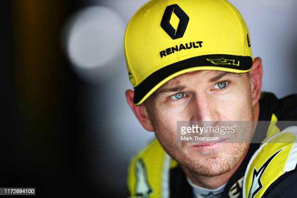 Nico Hulkenberg of Germany and Renault Sport F1 looks on in the garage during practice for the F1 Grand Prix of Italy at Autodromo di Monza on...