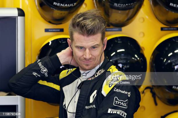Nico Hulkenberg of Germany and Renault Sport F1 prepares to drive in the garage during practice for the F1 Grand Prix of Austria at Red Bull Ring on...