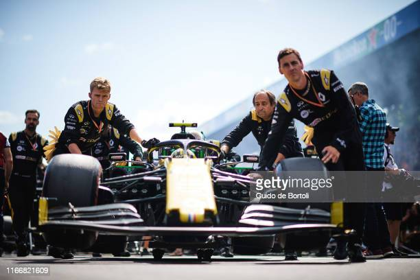 Nico Hulkenberg of Germany and Renault Sport Formula One Team on the grid of the Formula 1 Grand Prix of Italy at Autodromo di Monza on September 8...