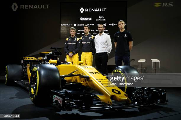 Nico Hulkenberg of Germany and Renault Sport Jolyon Palmer of Great Britain and Renault Sport Renault Sport Managing Director Cyril Abiteboul and...