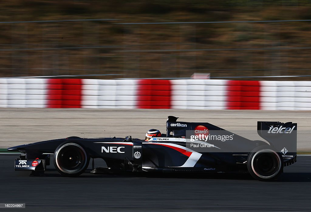 Nico Hulkenberg of Germany and Sauber F1 drives during day two of Formula One winter test at the Circuit de Catalunya on February 20, 2013 in Montmelo, Spain.