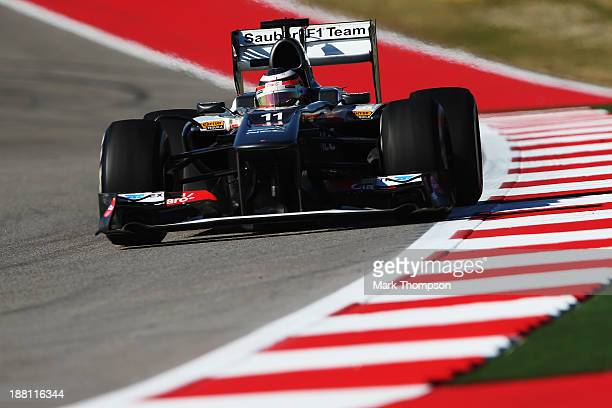 Nico Hulkenberg of Germany and Sauber F1 drives during practice for the United States Formula One Grand Prix at Circuit of The Americas on November...