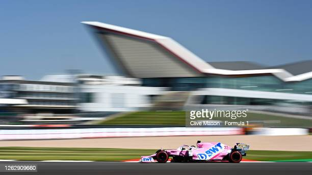 Nico Hulkenberg of Germany driving the Racing Point RP20 Mercedes on track during practice for the F1 Grand Prix of Great Britain at Silverstone on...