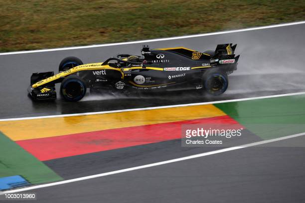Nico Hulkenberg of Germany driving the Renault Sport Formula One Team RS18 on track during final practice for the Formula One Grand Prix of Germany...