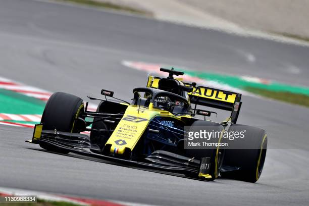 Nico Hulkenberg of Germany driving the Renault Sport Formula One Team RS19 on track during day three of F1 Winter Testing at Circuit de Catalunya on...