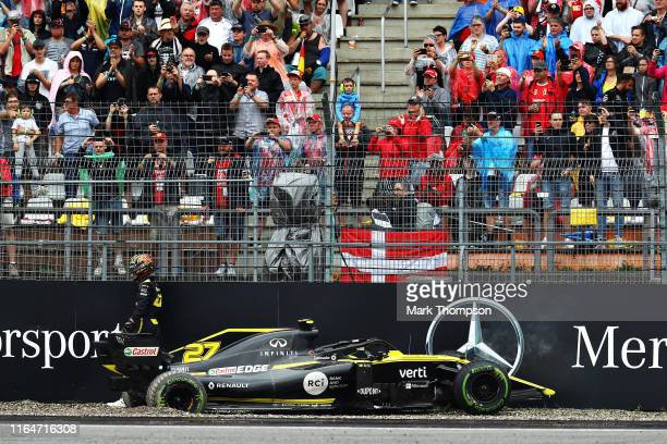 Nico Hulkenberg of Germany driving the Renault Sport Formula One Team RS19 crashes during the F1 Grand Prix of Germany at Hockenheimring on July 28,...