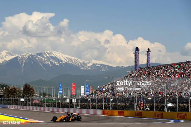 Nico Hulkenberg of Germany driving the Renault Sport Formula One Team Renault RS17 on track during the Formula One Grand Prix of Russia on April 30...