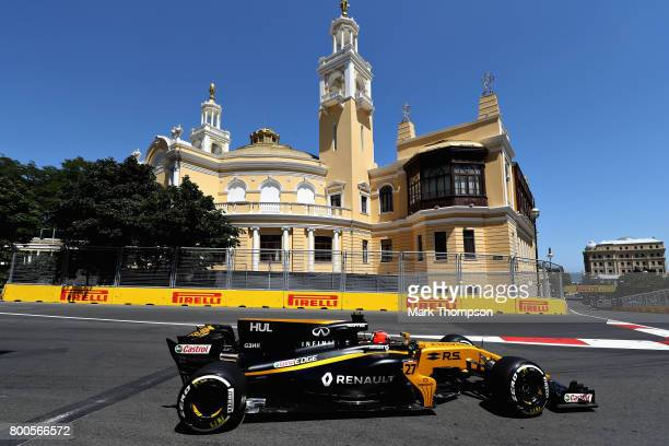 Nico Hulkenberg of Germany driving the Renault Sport Formula One Team Renault RS17 on track during final practice for the Azerbaijan Formula One...
