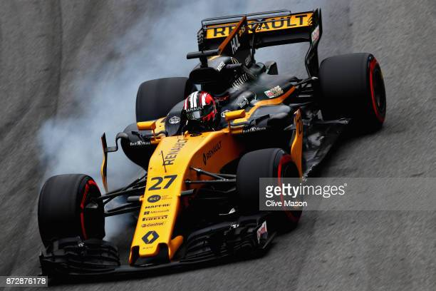 Nico Hulkenberg of Germany driving the Renault Sport Formula One Team Renault RS17 locks a wheel under braking during qualifying for the Formula One...