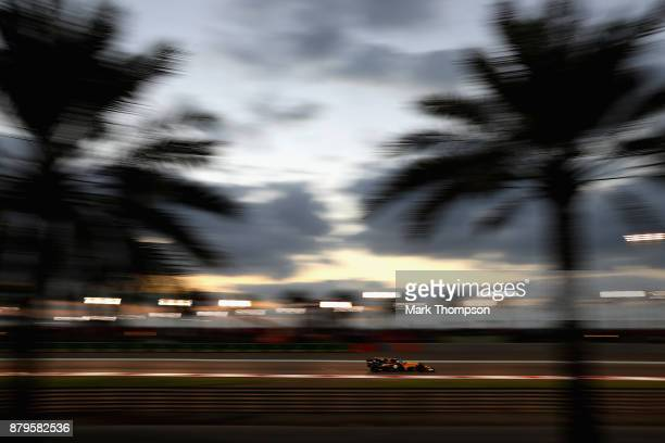Nico Hulkenberg of Germany driving the Renault Sport Formula One Team Renault RS17 on track during the Abu Dhabi Formula One Grand Prix at Yas Marina...