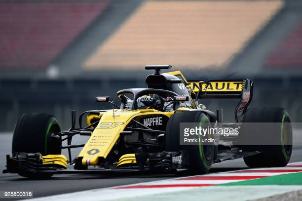 Nico Hulkenberg of Germany driving the Renault Sport Formula One Team RS18 on track during day four of F1 Winter Testing at Circuit de Catalunya on...