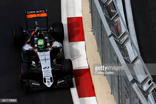 Nico Hulkenberg of Germany driving the Sahara Force India F1 Team VJM09 Mercedes PU106C Hybrid turbo on track during qualifying for the European...