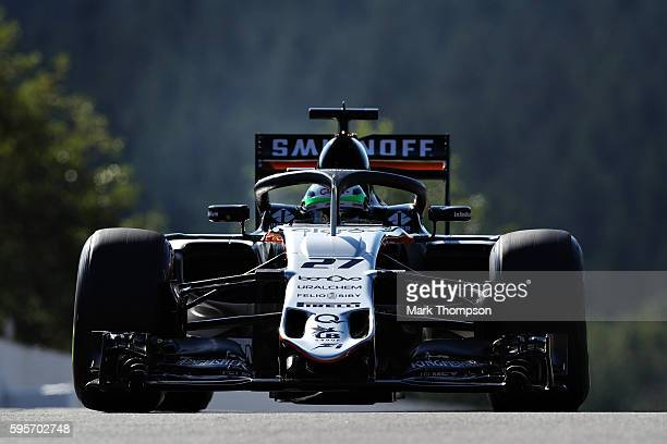 Nico Hulkenberg of Germany driving the Sahara Force India F1 Team VJM09 Mercedes PU106C Hybrid turbo with the halo fitted on track during practice...