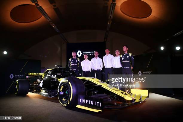 Nico Hulkenberg of Germany of Renault Sport F1 Remi Taffin Renault Sport F1 Managing Director Cyril Abiteboul Marcin Budkowski Nick Chester and...