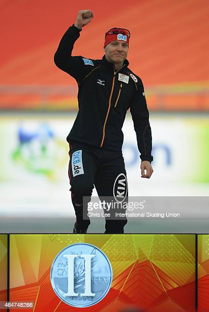 Nico Ihle of Germany celebrates his second place in the Mens 1000m race during Day 1 of the ISU World Sprint Speed Skating Championships at the Alau...