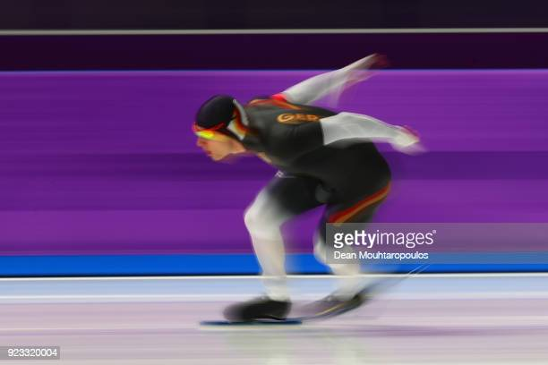 Nico Ihle of Germany competes during the Speed Skating Men's 1000m on day 14 of the PyeongChang 2018 Winter Olympic Games at Gangneung Oval on...