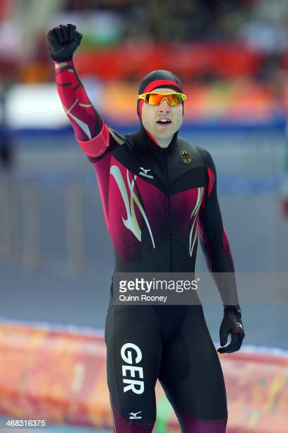 Nico Ihle of Germany reacts after competing during the Men's 500 m Race 1 of 2 Speed Skating event during day 3 of the Sochi 2014 Winter Olympics at...