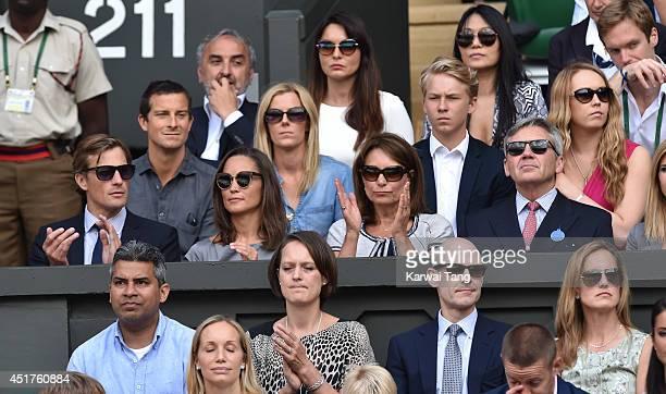 Nico Jackson Pippa Middleton Carole Middleton and Michael Middleton attend the mens singles final between Novak Djokovic and Roger Federer on centre...