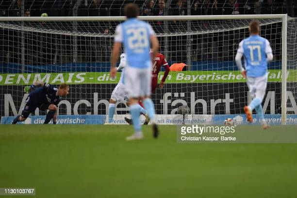 Nico Karger of TSV 1860 Muenchen scores his team's first goal during the 3 Liga match between TSV 1860 Muenchen and SpVgg Unterhaching at Stadion an...