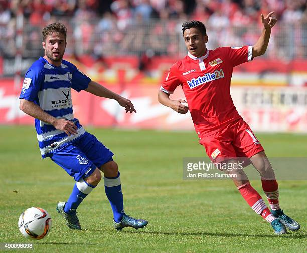 Nico Klotz of MSV Duisburg and Kenny Prince Redondo of 1 FC Union Berlin during the game between Union Berlin and MSV Duisburg on september 26 2015...