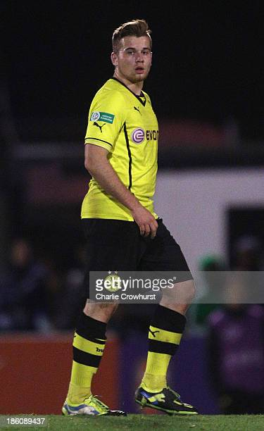 Nico Knystock of Borussia Dortmund during the UEFA Youth League match between Arsenal U19 and Borussia Dortmund U19 at Meadow Park on October 23 2013...