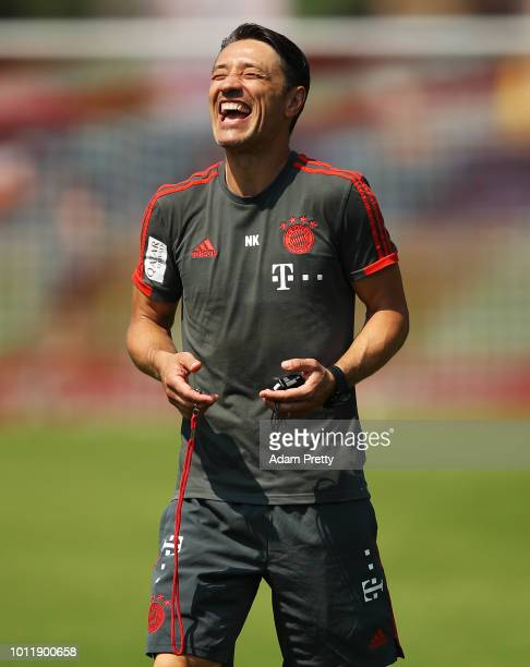 Nico Kovac head coach of Bayern Munich has a good laugh during the FC Bayern Munich Training Camp on August 6 2018 in RottachEgern Germany