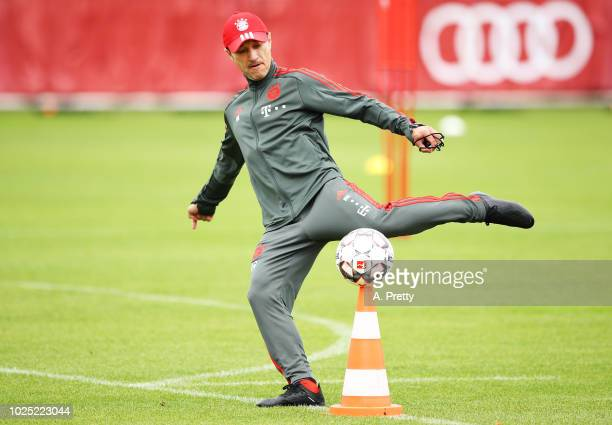 Nico Kovac head coach of FC Bayern Muenchen in action during training at Saebenerstr training grounds on August 30 2018 in Munich Germany