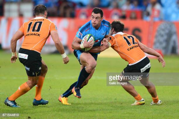 Nico Lee of the Cheetahs tackles Jesse Kriel of the Bulls during the Super Rugby match between Vodacom Bulls and Toyota Cheetahs at Loftus Versfeld...