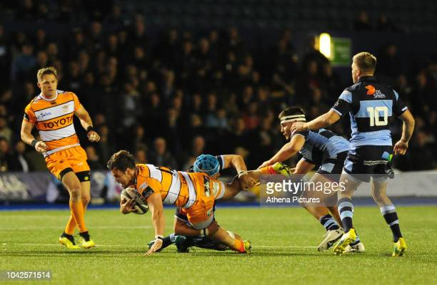 Nico Lee of Toyota Cheetahs is tackled by Olly Robinson of Cardiff Blues during the Guinness Pro14 Round 5 match between Cardiff Blues and Toyota...