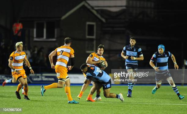 Nico Lee of Toyota Cheetahs is tackled by Willis Halaholo of Cardiff Blues during the Guinness Pro14 Round 5 match between Cardiff Blues and Toyota...