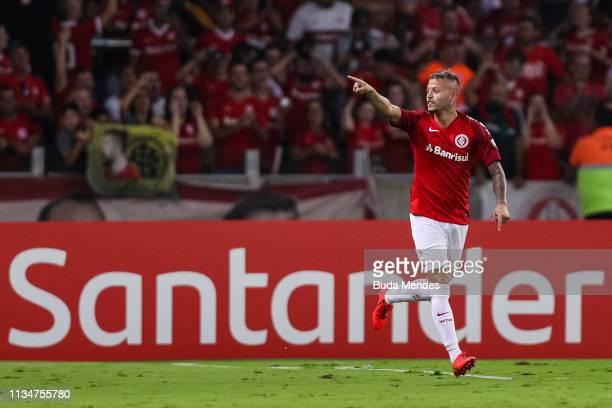 Nico Lopez of Internacional celebrates a scored goal during a match between Internacional and River Plate as part of Copa CONMEBOL Libertadores 2019...
