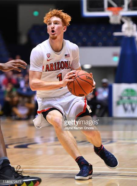 Nico Mannion of the Arizona Wildcats as he drives to the basket in the first half of the game against the Wake Forest Demon Deacons during the Wooden...