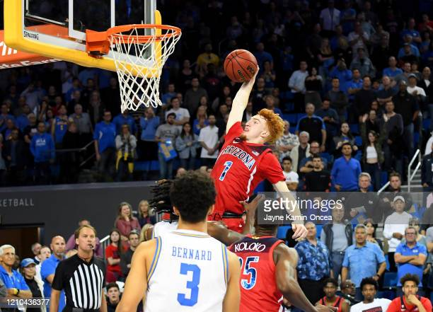 Nico Mannion of the Arizona Wildcats goes up for a dunk in the game against the UCLA Bruins at Pauley Pavilion on February 29, 2020 in Los Angeles,...