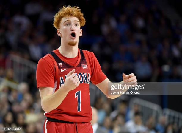 Nico Mannion of the Arizona Wildcats instructs the offense during the game against the UCLA Bruins at Pauley Pavilion on February 29, 2020 in Los...