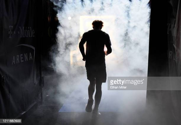 Nico Mannion of the Arizona Wildcats is introduced before a first-round game of the Pac-12 Conference basketball tournament against the Washington...