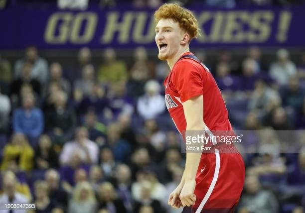 Nico Mannion of the Arizona Wildcats reacts in the second half against the Washington Huskies during their game at Hec Edmundson Pavilion on January...
