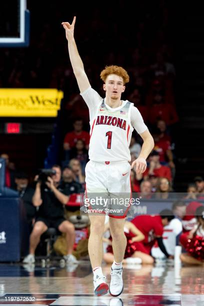 Nico Mannion of the Arizona Wildcats reacts on the court in the first half against the Arizona State Sun Devils at McKale Center on January 04, 2020...