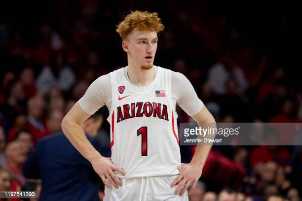 Nico Mannion of the Arizona Wildcats reacts on the court in the second half against the Gonzaga Bulldogs at McKale Center on December 14, 2019 in...
