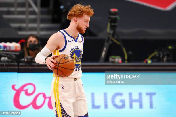 Nico Mannion of the Golden State Warriors dribbles during the game against the Toronto Raptors on April 2, 2021 at Amalie Arena in Tampa, Florida....