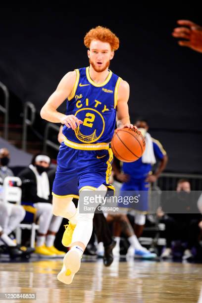 Nico Mannion of the Golden State Warriors dribbles the ball during the game against the Phoenix Suns on January 28, 2021 at Talking Stick Resort...