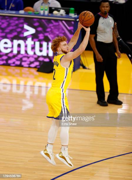 Nico Mannion of the Golden State Warriors shoots the ball during their game against the Sacramento Kings at Chase Center on January 04, 2021 in San...
