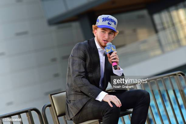 Nico Mannion of the Golden State Warriors talks to the media during a draftee press conference on November 19, 2020 in San Francisco, California at...