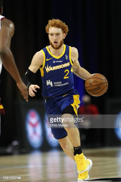 Nico Mannion of the Santa Cruz Warriors drives to the basket against the Canton Charge on February 17, 2021 at HP Field House in Orlando, Florida....