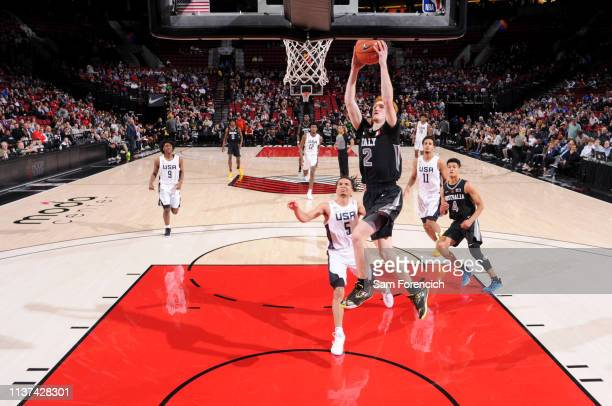 Nico Mannion of World Team dunks the ball against the USA Team on April 12, 2019 at the Moda Center Arena in Portland, Oregon. NOTE TO USER: User...