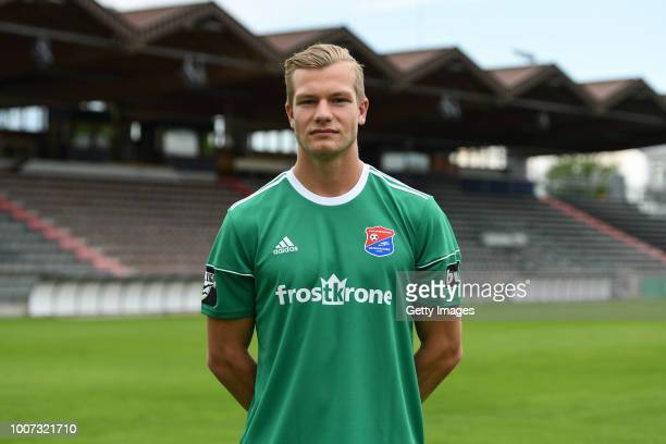 Nico Mantl of SpVgg Unterhaching poses during the team presentation at Alpenbauer Sportpark on July 4, 2018 in Unterhaching, Germany.
