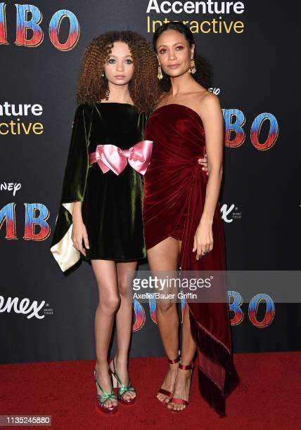 Nico Parker and Thandie Newton attend the premiere of Disney's Dumbo at El Capitan Theatre on March 11 2019 in Los Angeles California