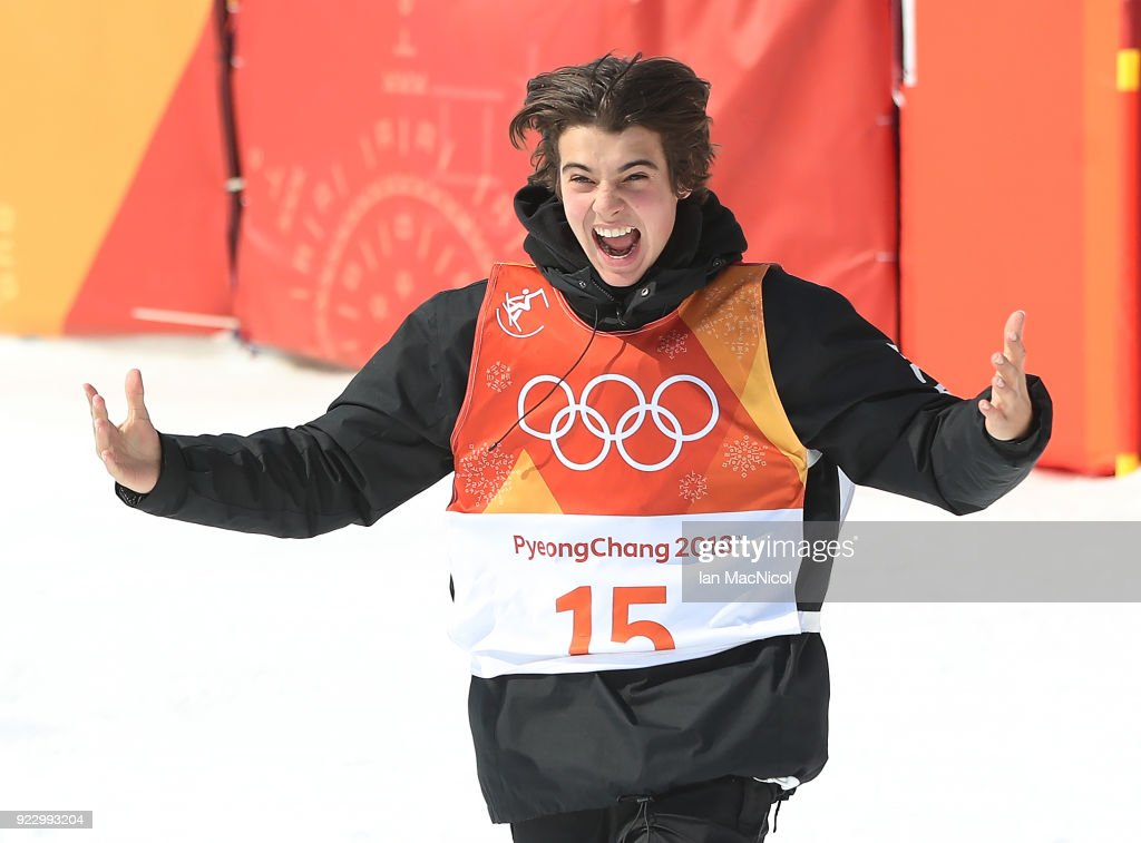 Nico Porteous celebrates during the Men's Ski Halfpipe final on day thirteen at Phoenix Snow Park on February 22, 2018 in Pyeongchang-gun, South Korea.
