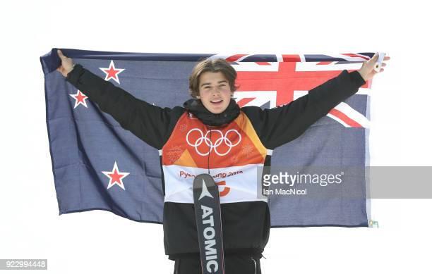 Nico Porteous of New Zealand celebrates after winning bronze during the Men's Ski Halfpipe at Phoenix Snow Park on February 22 2018 in Pyeongchanggun...