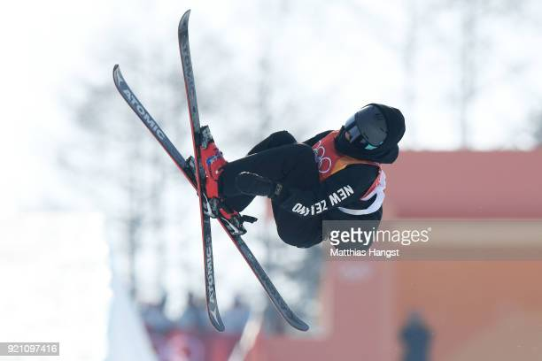 Nico Porteous of New Zealand competes during the Freestyle Skiing Men's Ski Halfpipe Qualification on day eleven of the PyeongChang 2018 Winter...