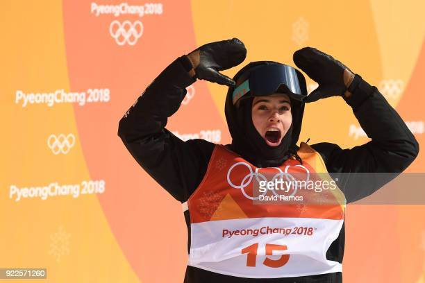 Nico Porteous of New Zealand reacts to his score on his run during the Freestyle Skiing Men's Ski Halfpipe Final on day thirteen of the PyeongChang...